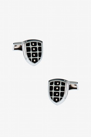 Gemstone Grid Shield Cufflinks