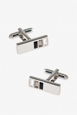 _Half Bejeweled Bar Cufflinks_