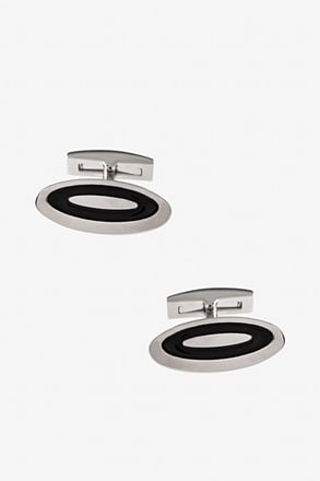_Lengthened Oval Black Cufflinks_