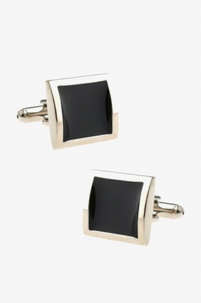 Minimalist Opaque Framed Black Cufflinks
