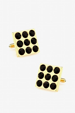 Nine Studs Black Cufflinks