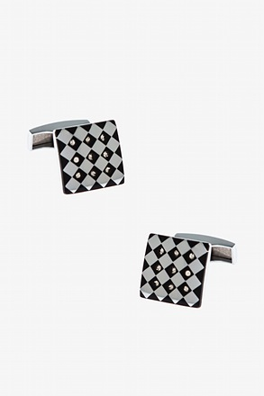 _Ornate Checkered Square Cufflinks_