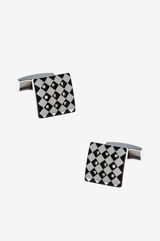 Ornate Checkered Square Black Cufflinks Photo (0)