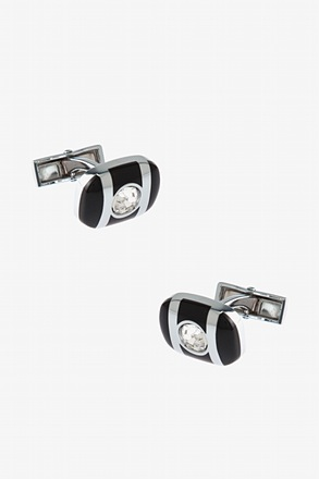 Oval Striped Rhinestone Black Cufflinks