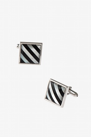 _Patterned Square Black Cufflinks_