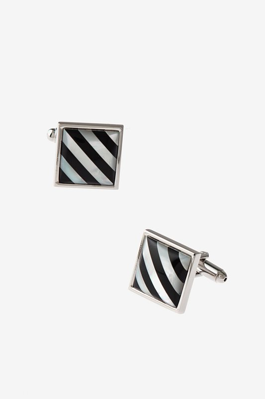 Patterned Square Black Cufflinks Photo (0)