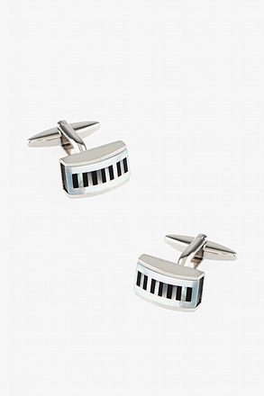 _Rectangular Pearly Stripes Black Cufflinks_