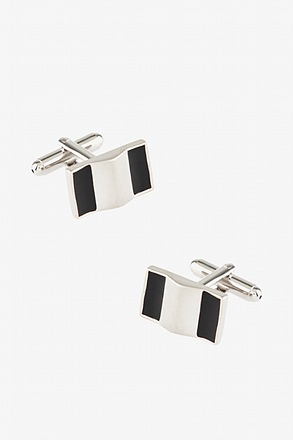 Rectangular Striations Black Cufflinks