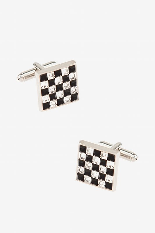 Rhinestone Checked Cufflinks