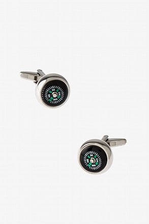 Round Compass Black Cufflinks
