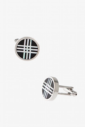 _Round Frosted Stripes Black Cufflinks_