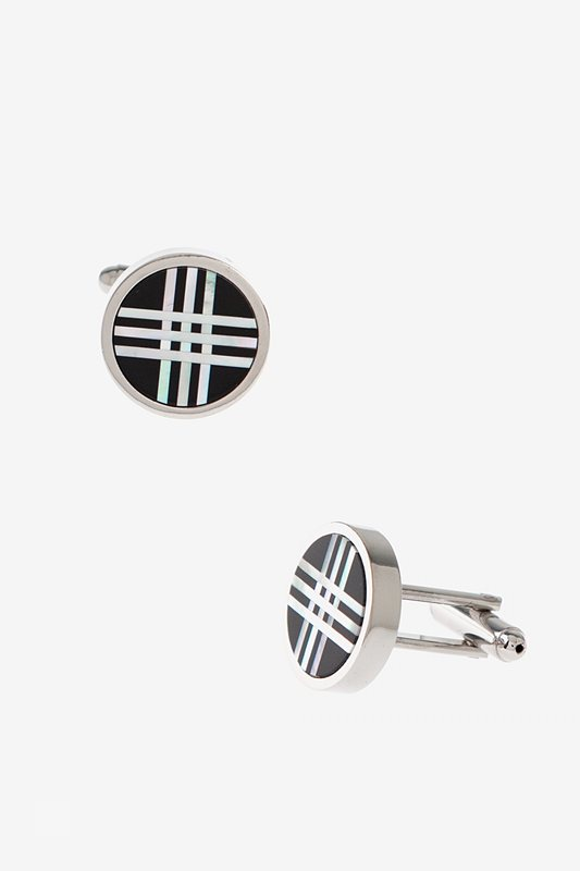 Round Frosted Stripes Cufflinks