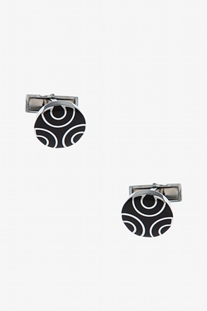 Round Half Circles Black Cufflinks