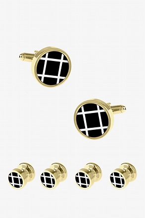 Round Large Grid Cufflink & Stud Set
