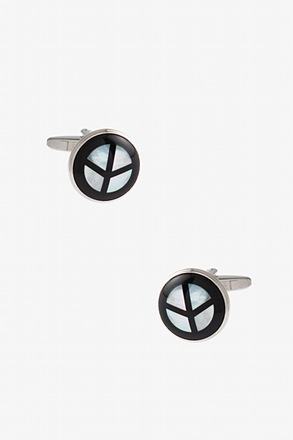 Round Pearly Peace Cufflinks