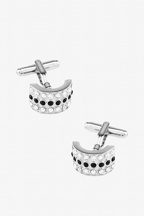 Rounded Embellished Rectangle Cufflinks