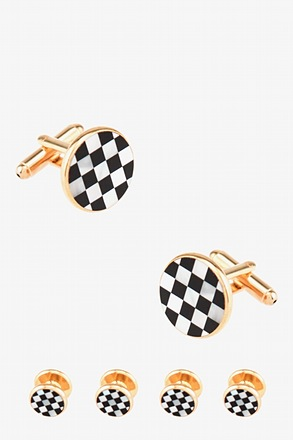 Set Round Pearly Pattern Cufflink & Stud Set