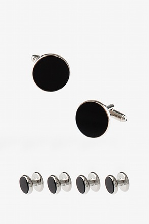Set Solid Round Cufflink & Stud Set