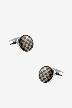 Shiny Checkered Round Black Cufflinks