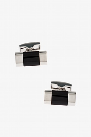 Simple Gemstone Bar Black Cufflinks