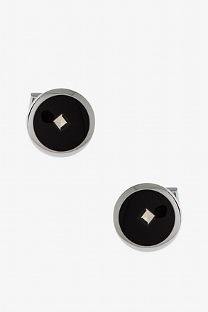 Simple Round Rhinestone Cufflinks