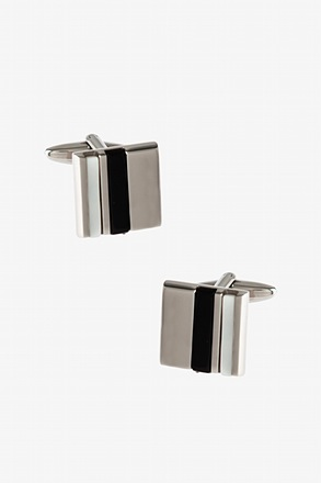 Solid Double Stripe Black Cufflinks