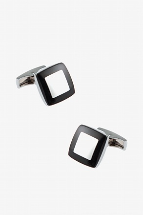 Solid Inner Square Black Cufflinks