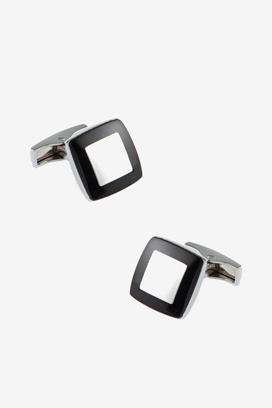 Solid Inner Square Black Cufflinks Photo (0)