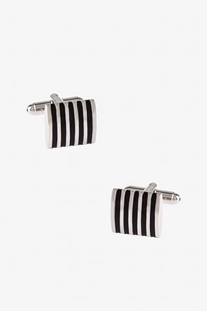 Solid Striped Square Black Cufflinks