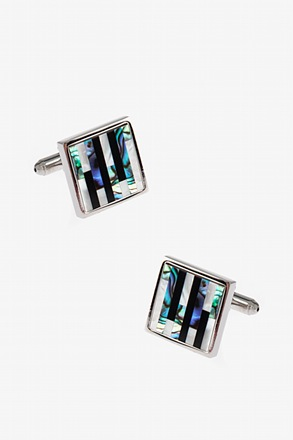 Square Pearly Striped Cufflinks