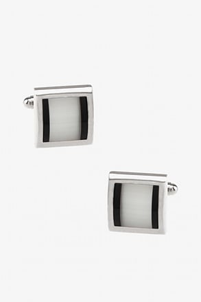 Stewart Rounded Square Black Cufflinks