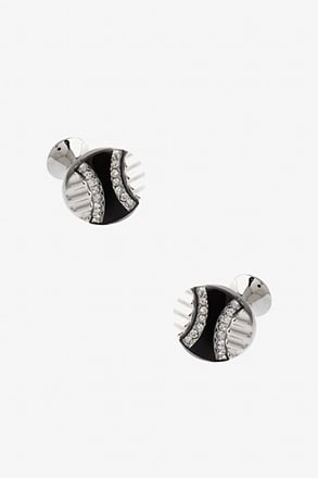 Striking Round Glitter Cufflinks