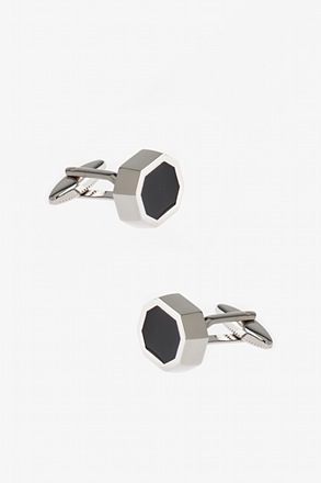 _Thick Solid Octagon Black Cufflinks_