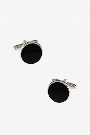 Thin Solid Round Black Cufflinks