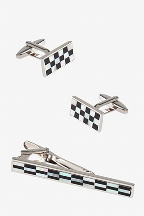 Two Tones Cufflink & Tie Bar Set