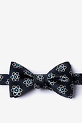 Black Microfiber Atomic Nucleus Butterfly Bow Tie