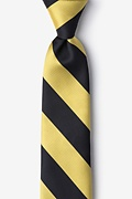 Black Microfiber Black & Gold Stripe Tie For Boys