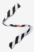 Black & Off White Stripe Self-Tie Bow Tie Photo (1)