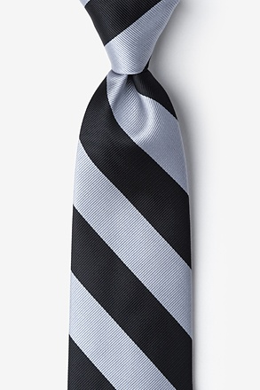 Black & Silver Stripe Extra Long Tie