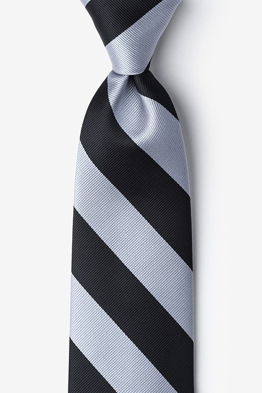 Black & Silver Stripe Extra Long Tie Photo (0)