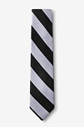 Black & Silver Stripe Skinny Tie Photo (1)