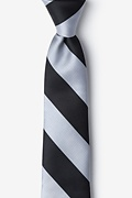 Black & Silver Stripe Skinny Tie Photo (0)