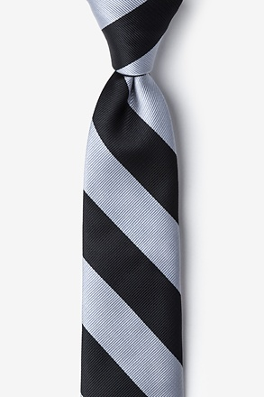 _Black & Silver Stripe Tie For Boys_