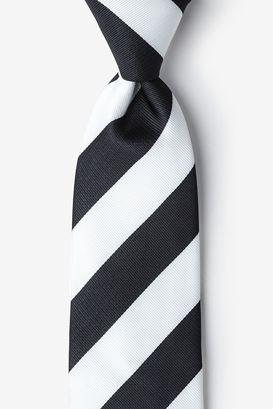 Black & Off White Stripe Extra Long Tie