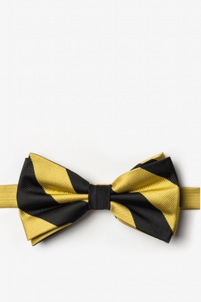 Black And Gold Pre-Tied Bow Tie
