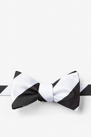 Black And Off White Stripe Butterfly Bow Tie