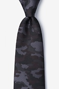 Black Microfiber Camouflage Woodland Extra Long Tie