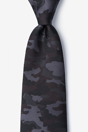 _Camouflage Woodland Black Extra Long Tie_