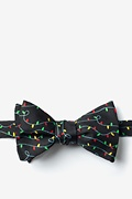 Black Microfiber Christmas Lights Self-Tie Bow Tie
