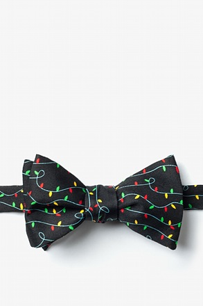_Christmas Lights Black Self-Tie Bow Tie_